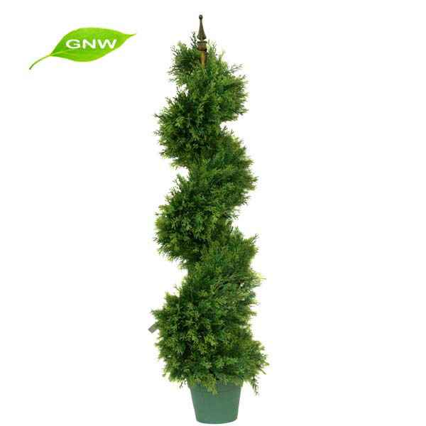 GNW BOX1023 Decorative Wreaths Outdoor Fence Decoration Artificial Boxwood Spiral Tree
