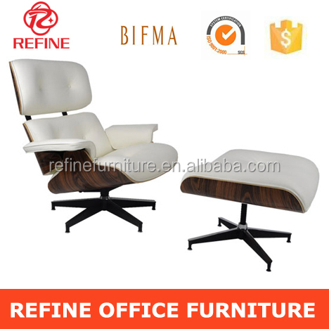 charles earmes lounge chairs and ottoman white leather RF-S098C