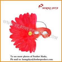 Red Party Eye Mask with Feather