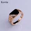 Fashion Hollow Out Vintage Ring Zinc Alloy Bijoux Crystal Stone Black Ring Suitable For Men And Women