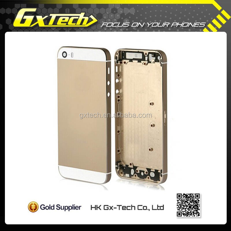 Customized Fashionable Gold Plate Back Housing for iPhone 5 Gold Back Cover Housing Battery Door with Samples Accepted