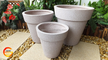 Fiberstone off white marble finish flower pot set of 3
