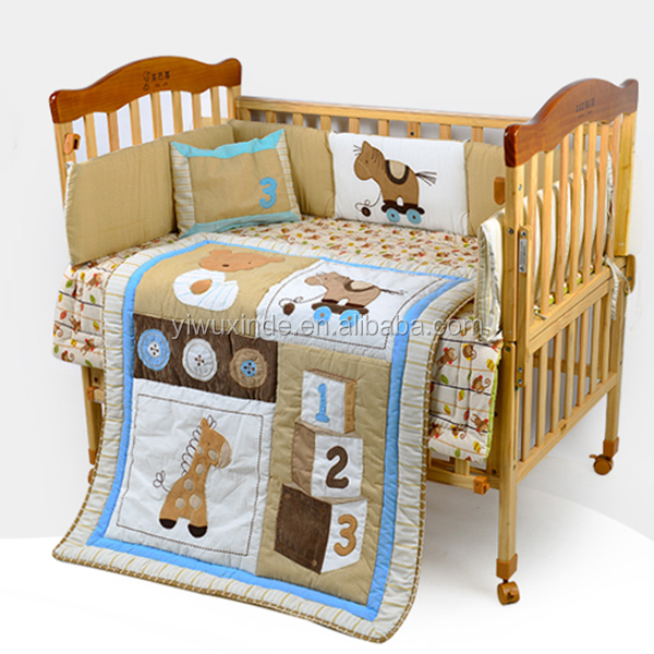 Wholesale 3d cartoon cat printed baby crib bedding set