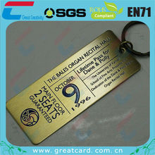Printed Brushed Brass Metal Ticket With Key Ring