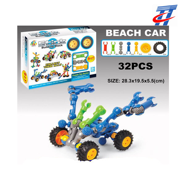 DIY building block toys beach car diy brick toys for kids toys games