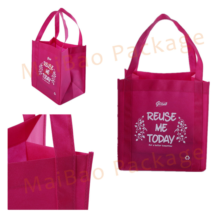 Heavy Duty Fabric Eco Reusable Tote Carry Non Woven Spunbond TNT Shopping Bags With Custom Logos Printed