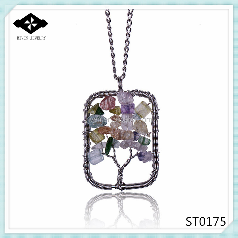 ST0175 Women Best Gift handmade square Colorful natural crystal pendant necklace Hot Selling.jpg