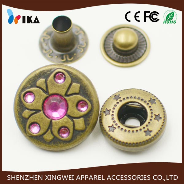 crystal cap metal alloy snap button for coats