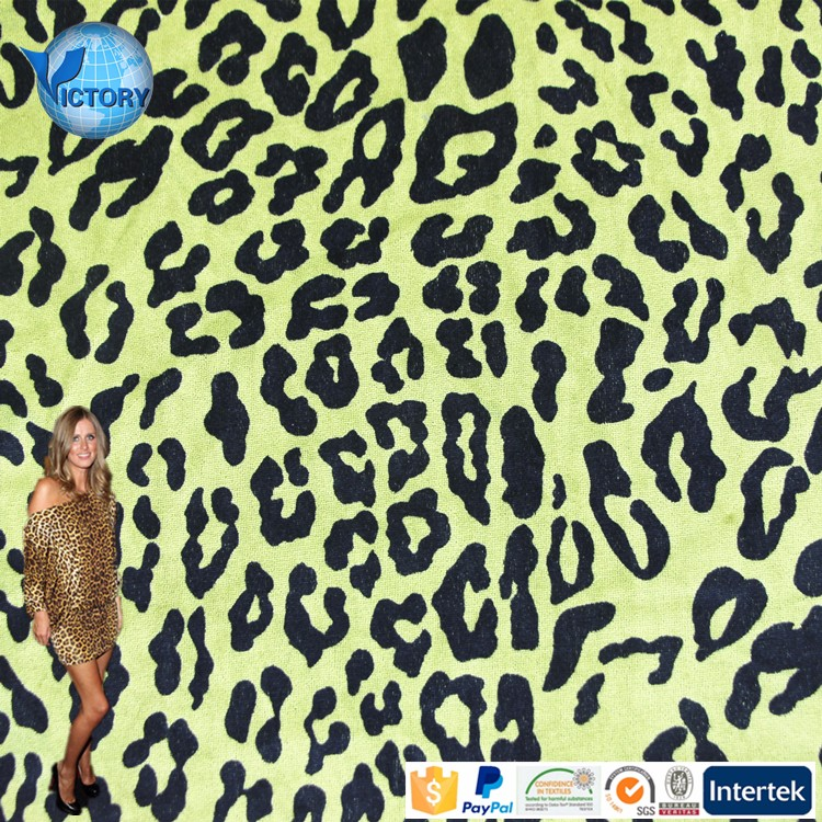 Victory Textile Leopard Velvet Polyester Cheap Fabric Printing Latest Fashion Dresses Velour