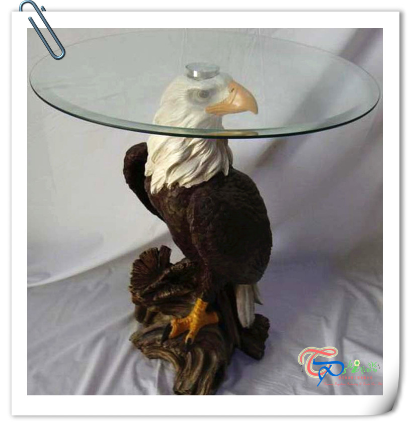 Hot Sale China Factory round eagle animal glass coffee table