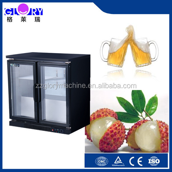 2015 new desigh undercounter black bar fridge with 2 glass door