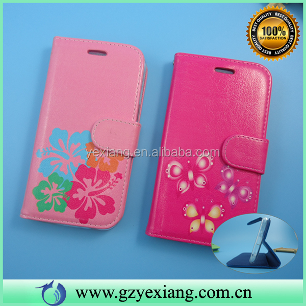 Flower Pattern Leather Cover Flip Case For BLU Win JR With Stand