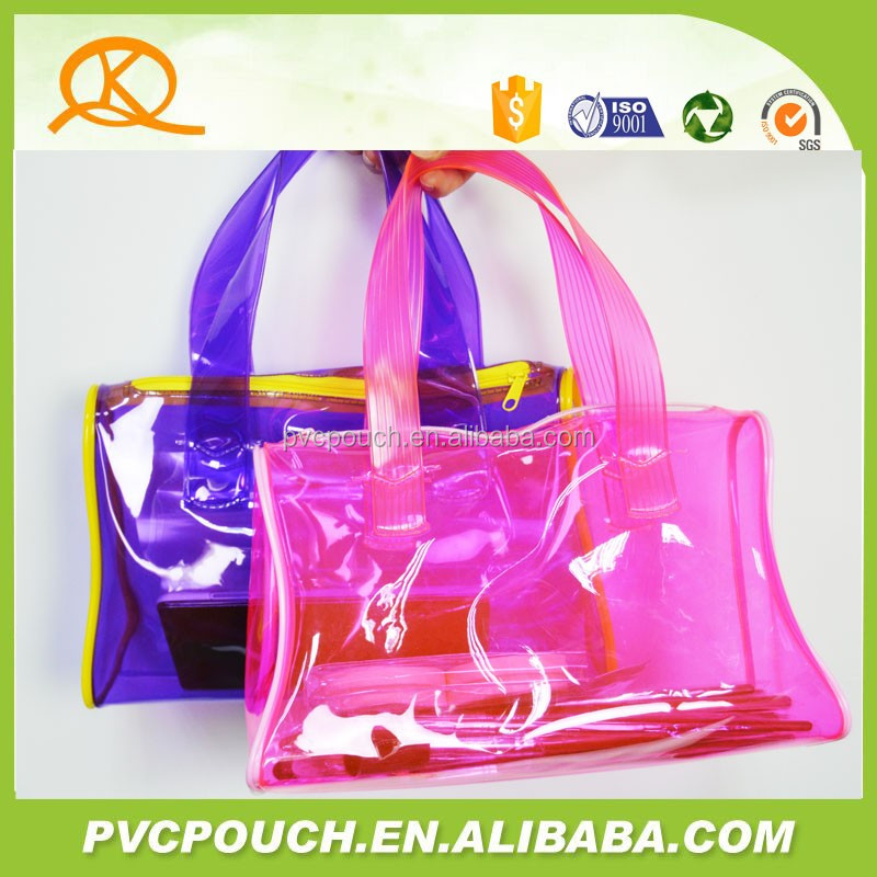 cheap promotional PVC lady big shopping transparent cosmetic bag