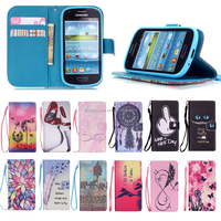 Wholesale Products Fashion cell phone case for Samsung galaxy S3 mini with card holder, for Samsung S3 mini case wallet leather