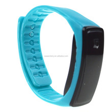 LED electronic simple 30m waterproof pedometer blue white silicone band watch