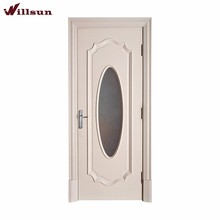 Simple design warm white interior solid carving wood single panel frosted glass door