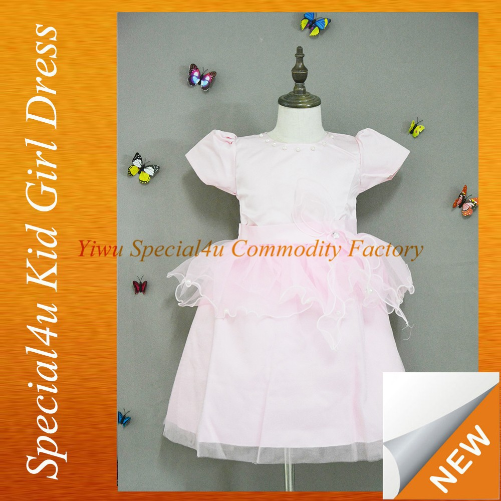 Short puffy dresses for girls wedding dress design kids pink flower girl lace dress with pearl SPSY-147
