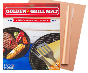 Gold /copper BBQ Grill Mat, l Heavy Duty Non-Stick BBQ Grilling Sheet, Set Of 2, 15.75 x 13 Inches