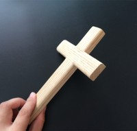 Wooden factory custom handmade carved natural wood cross patterns