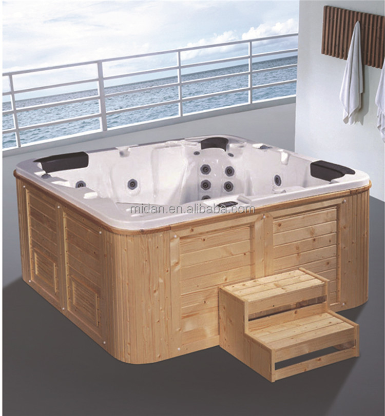 Large Size Wooden Barrel Bathtub With Wooden Skirt
