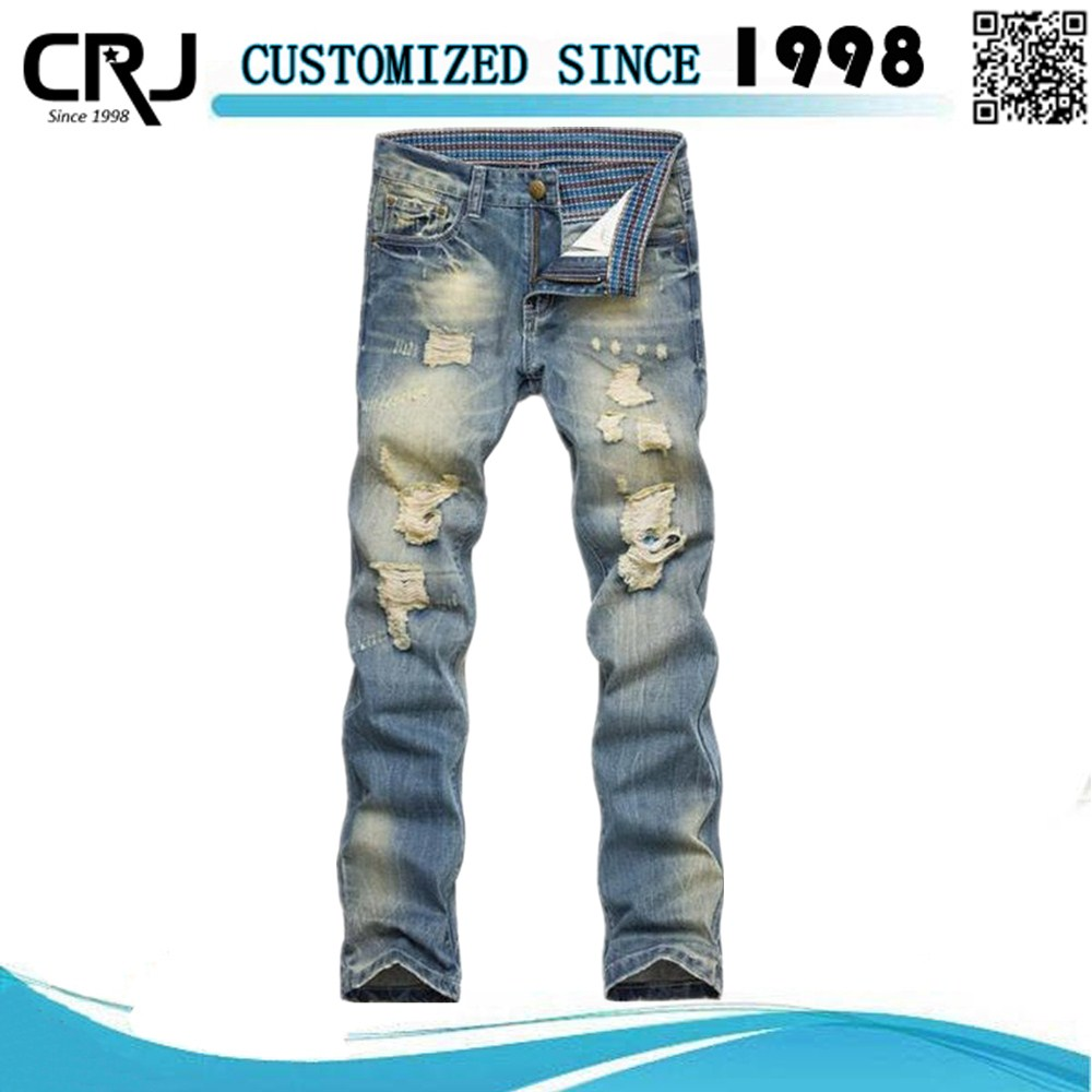 Ripped Jeans For Men With Jeans Label Cheap Jeans Wholesale China