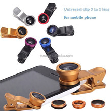 Universal Clip 3-in-1 Lens For Mobile Phones ,Fish Eye Lens + Wide Angle + Micro Lens Camera Kit For iphone/samsung/smartphone