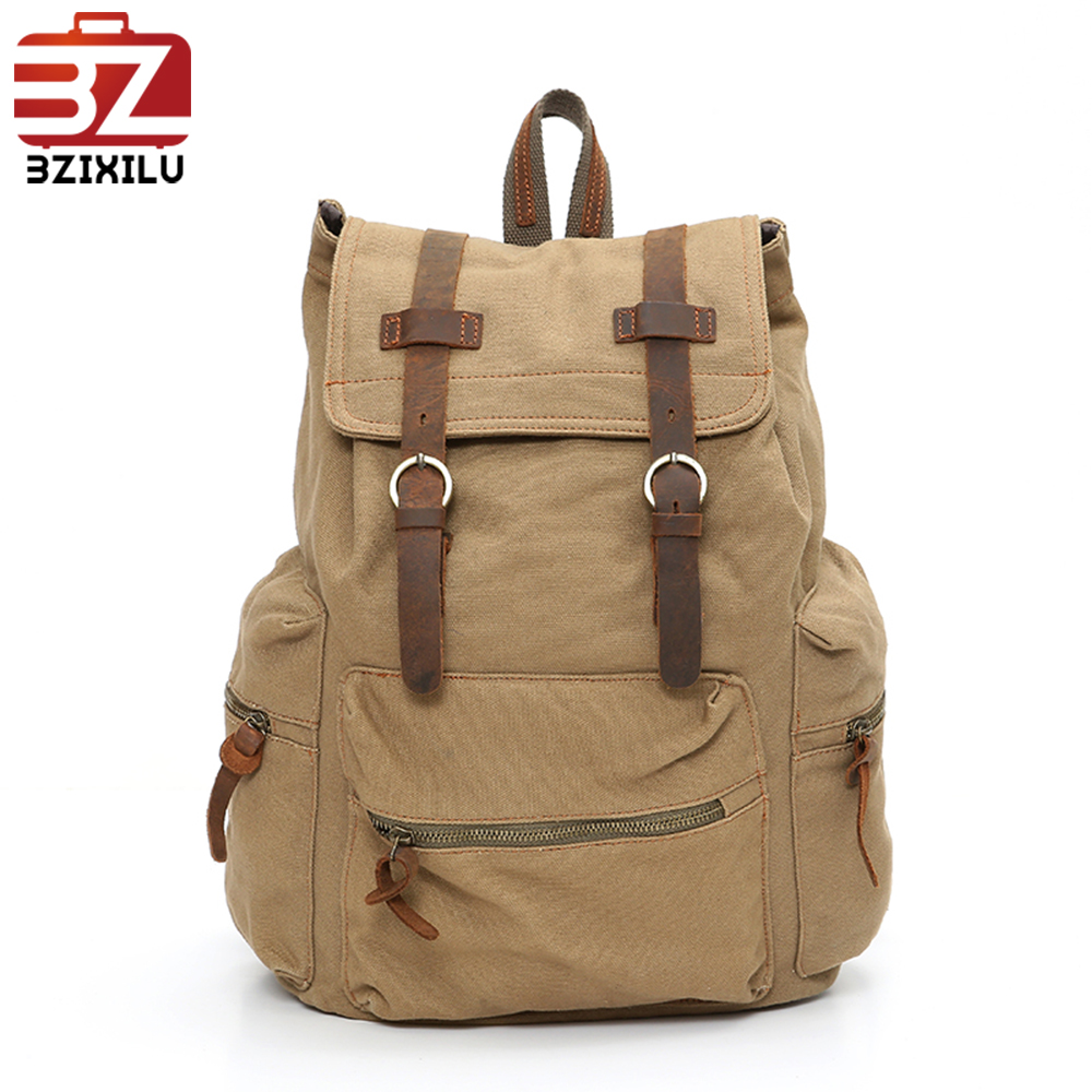 Classical design vintage canvas school bag and hiking backpack