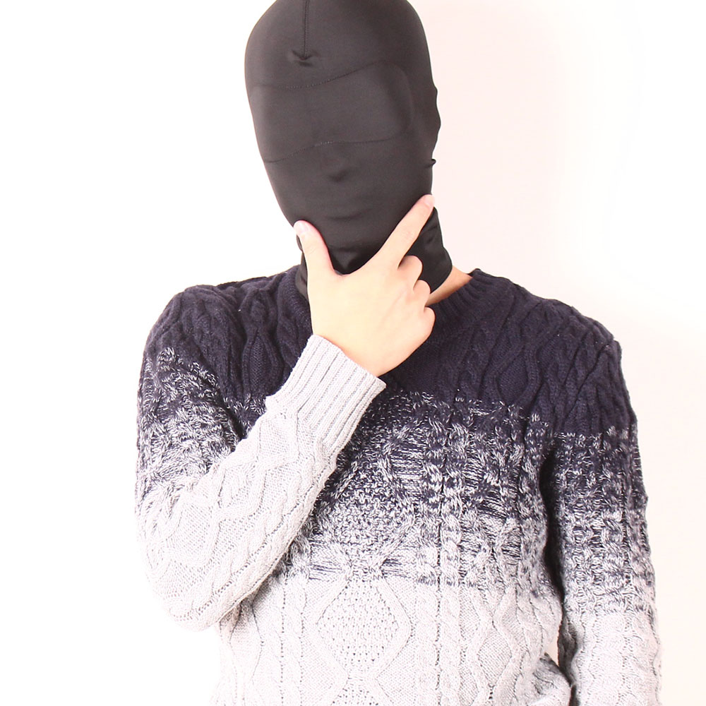 Full cover hood Fetish Fantasy Strong Elastic Spandex Mask hood no <strong>eyes</strong> and mouth holes Cosplay Party Game hood Harness Sex Toys