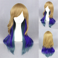 Medium 60cm Long Ombre blonde blue grey 3 Tone mixed Natural Wave Synthetic Lace Front women cosplay party wig