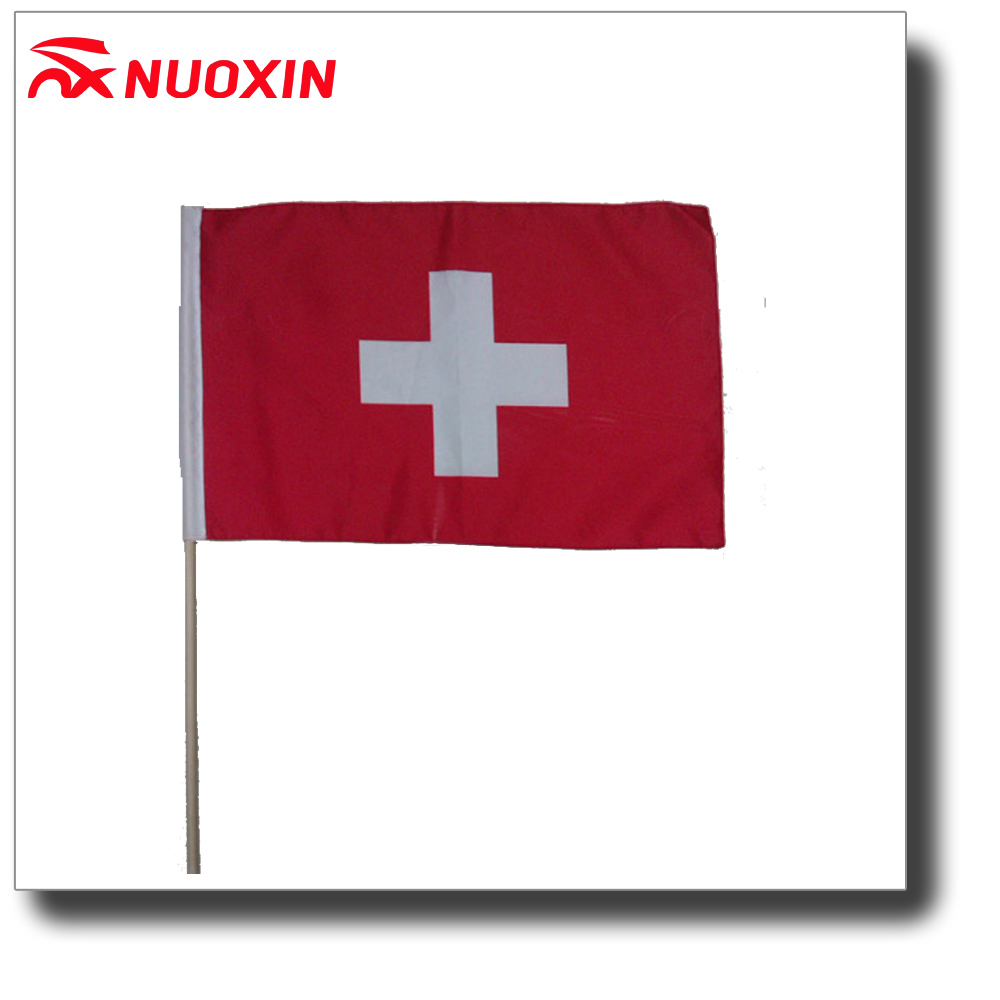 100% polyester national hand flag for social events Switzerland hand flag