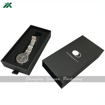 elegant black watch box packaging with foam inside