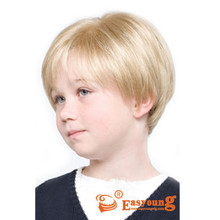 Kids blonde hair wigs, synthetic short hair style wigs for boy