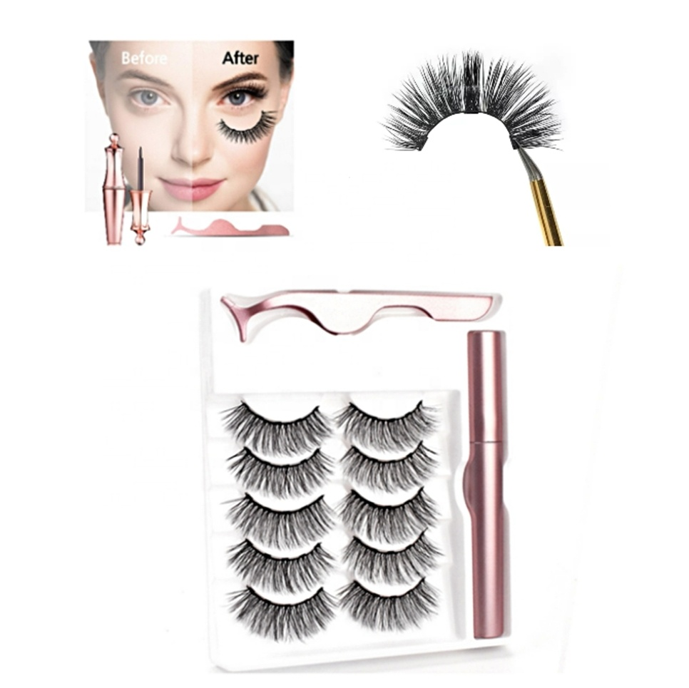 private label faux mink magnetic eyeliner lashes packing wholesale 5 magnetic eyelashes