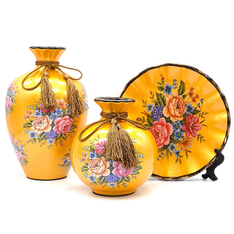 Wholesale 3 pcs set home decor Classical European vase set, gold ceramic flower vase