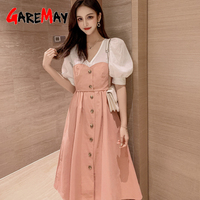 Summer Dress Women Midi Party Korean Style Fashion Half Sleeve Vintage Casual V-neck Khaki Long Dresses for Women