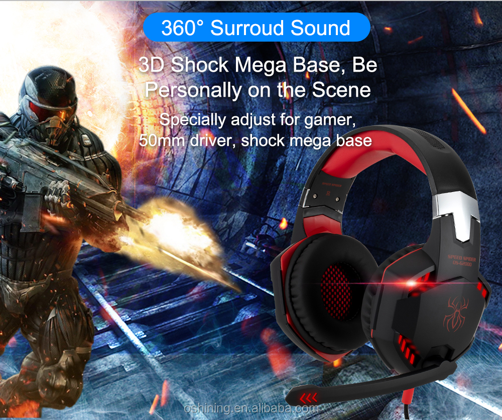 Custom Logo earphones stereo headphone with mic for PS4/X box/PC rgb gaming headset