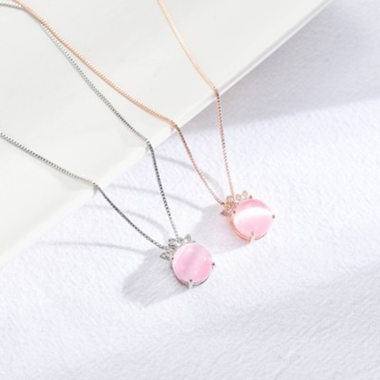 Strawberry Crystal Pendant Six-Pointed Star Thai Silver Female Necklace Clavicle Chain Necklace Jewelry