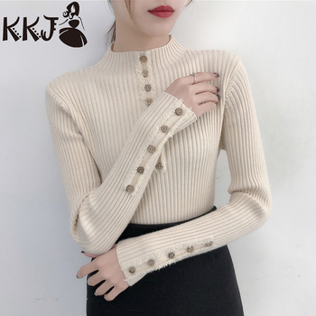 2019 New Half Turtleneck Women Sweater Knitted Ladies Pullover Sweaters with Buttons Wholsales Price