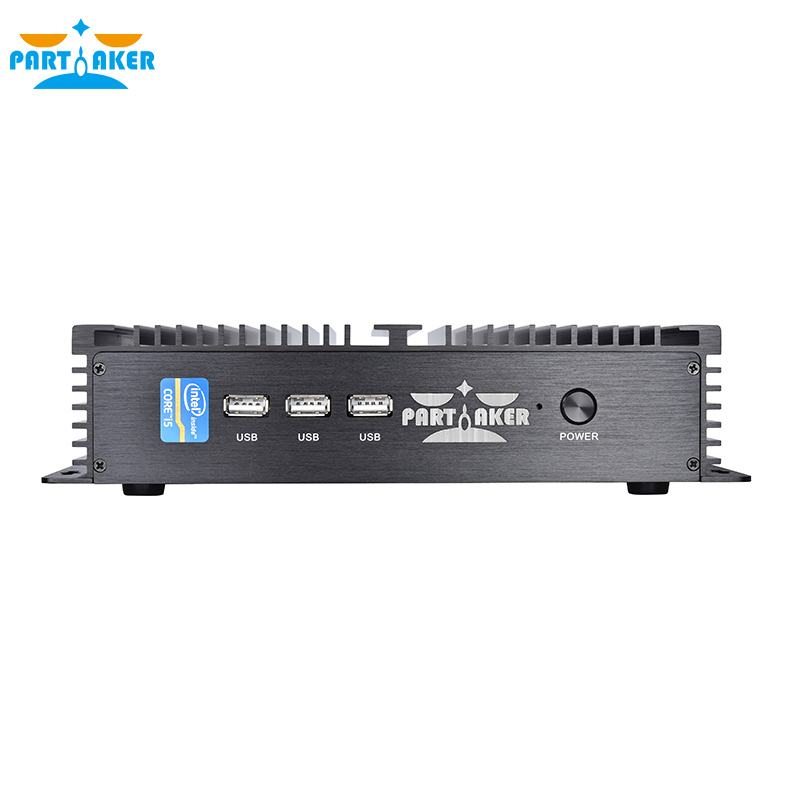 Partaker I3 Mini Computer Fanless Mini PC Win <strong>10</strong> Core i5 4200U 2*RS232 industrial PC Rugged PC