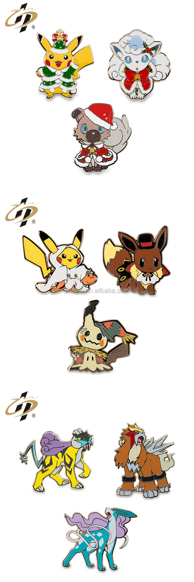 Custom pokemon Christmas hard enamel metal lapel pins
