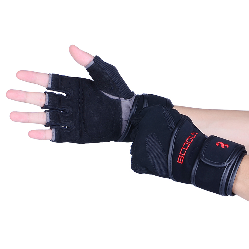 Boodun Fashion Best selling <strong>weight</strong> lifting athletic works fingerless fitness bodybuilding gym gloves with wrist wraps