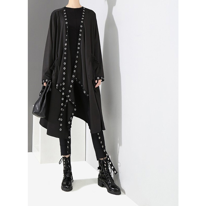 2018 Korean Style Women Very Long Solid Black Jacket Open Design Long Tape Stitched Metal <strong>Holes</strong> Female Stylish Loose Jacket 3843