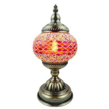 SINOVO china manufacturer creative stained tripod turkish mosaic glass table lamp with large globe lampshade