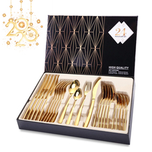 Knife Spoon Fork Set Gold Cutlery 24PCS Stainless Steel Flatware sets Cutery Set