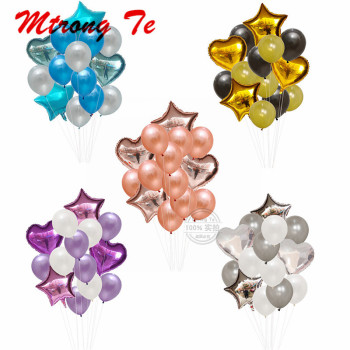 14pcs/lot 12inch latex 18inch star foil Balloons Wedding Festival Balon Party Helium Balloon Happy Birthday Party Decorations