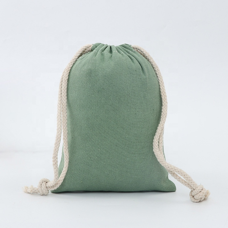 custom reusable cotton polyester linen small muslin drawstring purse tote pocket bags for Party Gift