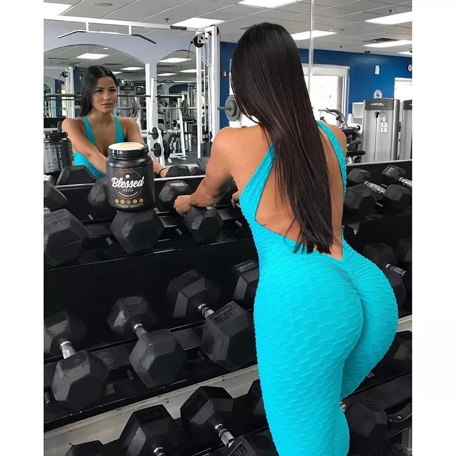 2019 Yoga Clothing Women's One-pieces Sports Suit Set Workout Gym Jumpsuit Pants