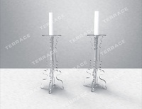 Set of two Acrylic Candle Holders, Pairs of lucite candle stick stands
