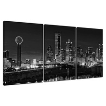 Wind 3 Pcs Wall Art Beautiful Dallas Skyline Black & White Canvas Art Paintings For Room Decor Dallas Cityscape Skyscrapers Nigh