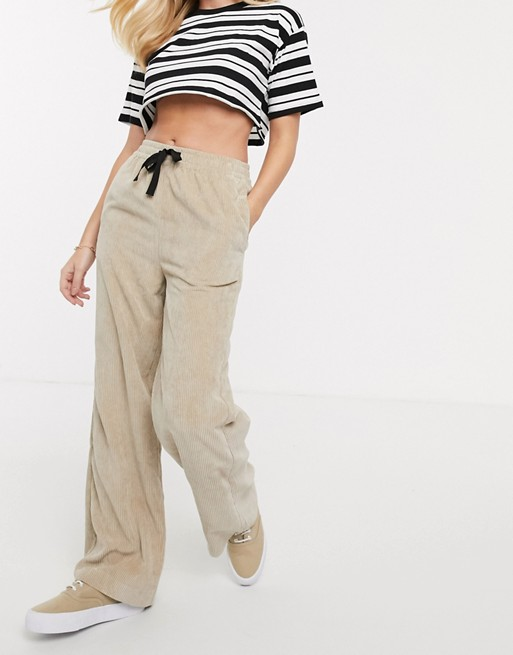 KY corduroy washed cord High rise Drawstring waist Side pockets Wide leg bell bottom pants pull on trouser